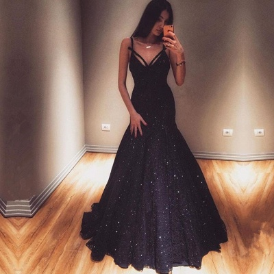 Glamorous V-Neck Mermaid Evening Gowns 2020 Sequins Prom Dresses On Sale_2