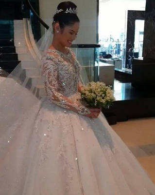 Glamorous Long Sleeve 2020 Ball Gown Wedding Dresses | Lace Appliques Tulle Bridal Gown BC0895_4