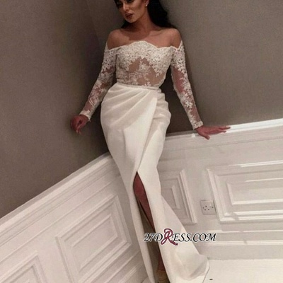 White Off-the-Shoulder Long Sleeve Prom Dress   2020 Lace Prom Dress With Slit_2