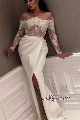 White Off-the-Shoulder Long Sleeve Prom Dress   2020 Lace Prom Dress With Slit_1