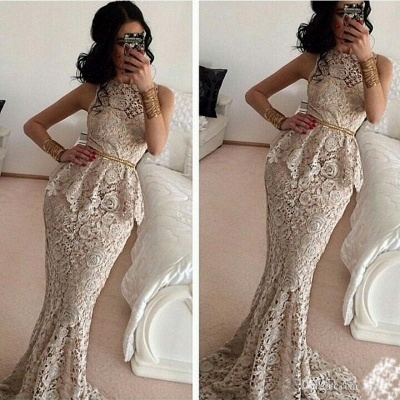 Gorgeous Full Lace Sleeveless Mermaid Evening Dresses Sweep Train Prom Gowns_1