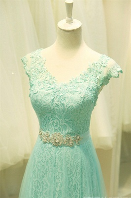 Elegant Lace Appliques Sleeveless Prom Dress Floor Length Tulle Evening Gowns_5