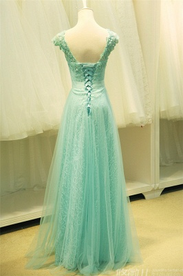 Elegant Lace Appliques Sleeveless Prom Dress Floor Length Tulle Evening Gowns_3