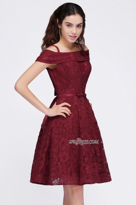 Off-the-Shoulder Lace Burgundy Simple A-Line Homecoming Dress_4