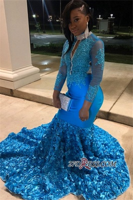 Gorgeous High-Neck Backless Mermaid Prom Dress | Flower Appliques Long-Sleeves Evening Gown_3