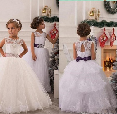 Modern Illusion Sleeveless Tulle Flower Girl Dress With Lace Appliques_2