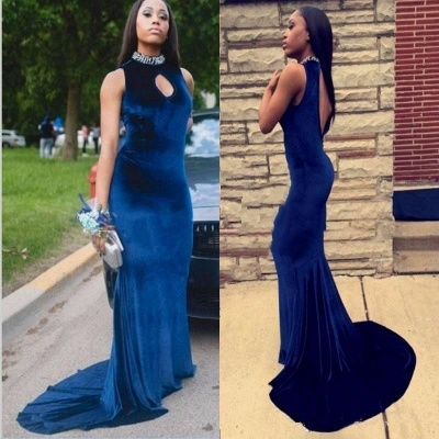 Gorgeous High-Neck Mermaid 2020 Prom Dress With Crystal_6