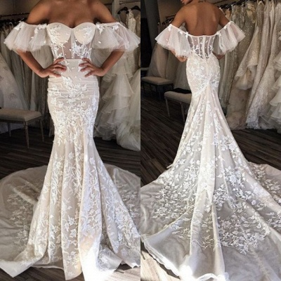 Glamorous Sweetheart 2020 Bridal Gowns   Lace Appliques Long Wedding Dresses_3