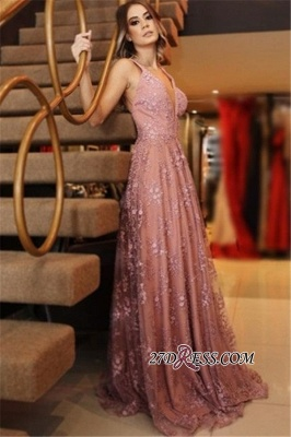 Spaghetti-Straps Backless Appliques Pink Sexy Lace Evening Dresses_1