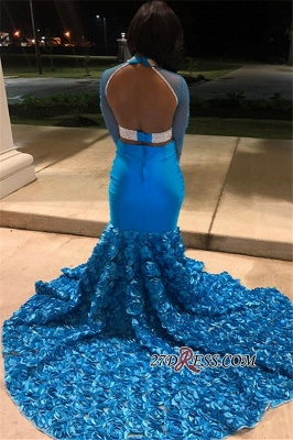 Gorgeous High-Neck Backless Mermaid Prom Dress | Flower Appliques Long-Sleeves Evening Gown_2
