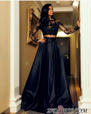 Two-Piece A-line Modern Long-Sleeve Black Lace Prom Dress BA7643_2