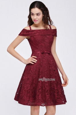 Off-the-Shoulder Lace Burgundy Simple A-Line Homecoming Dress_5