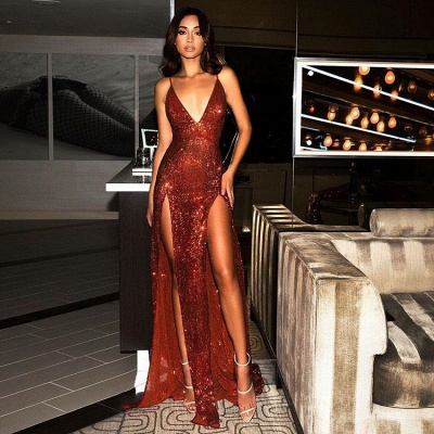 Sexy Red Sequins V-Neck Prom Dress | 2020 Long Evening Gowns With Slit BC0466_4