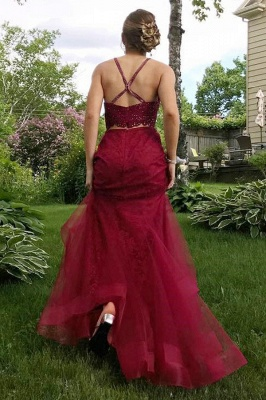 Two-Piece Burgundy Prom Dress | 2020 Lace Evening Gowns_4