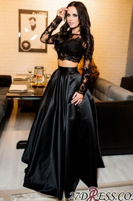 Two-Piece A-line Modern Long-Sleeve Black Lace Prom Dress BA7643_1
