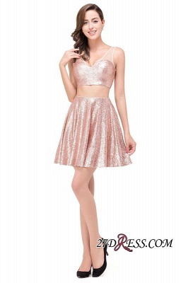 2020 Sexy Sequined Lace-Up Two-Pieces Mini Homecoming Dress_7
