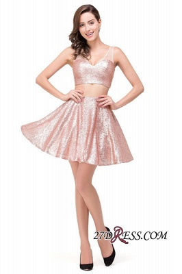 2020 Sexy Sequined Lace-Up Two-Pieces Mini Homecoming Dress_1