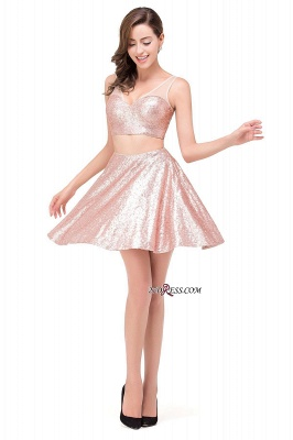 2020 Sexy Sequined Lace-Up Two-Pieces Mini Homecoming Dress_4