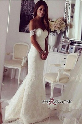 2020 Modest Lace Sweep-Train Off-the-shoulder Mermaid Wedding Dress_2
