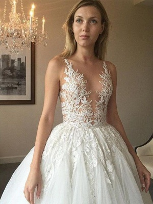 Charming Sleeveless Lace Wedding Dress | 2020 Tulle Bridal Gowns On Sale_2