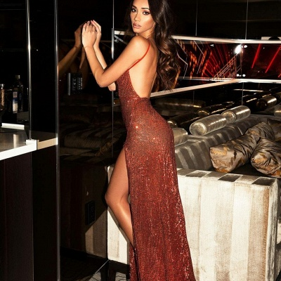 Sexy Red Sequins V-Neck Prom Dress | 2020 Long Evening Gowns With Slit BC0466_3