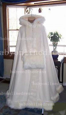 Hot Red And White Ankle Length Wedding Dresses With Faux Fur Cape Ivory Cloaks_3
