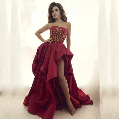 Glamorous Strapless 2020 Evening Dress Long Gold Beads Long Party Dress With Split BA8044_3