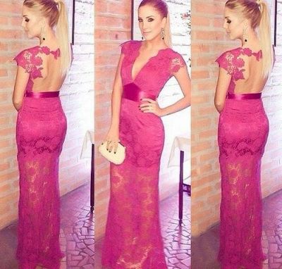 Newest Lace Appliques V-neck Cap Sleeve 2020 Prom Dress A-line Floor-length_3