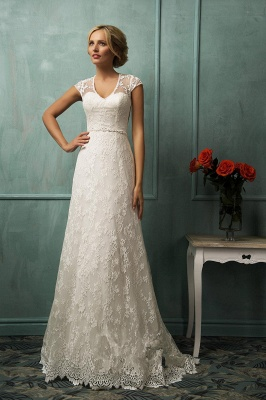 Elegant Cap Sleeve Lace Wedding Dress With Zipper Button Bridal Gowns_1