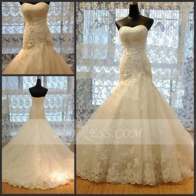 Modest Sweetheart Lace Appliques Wedding Dresses Mermaid Lace-Up Bridal Gowns_2