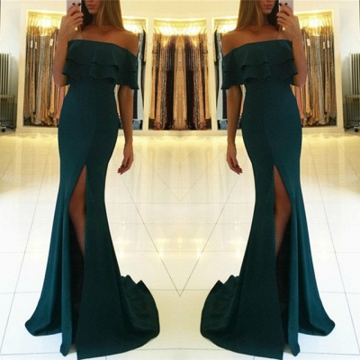 Green off the shoulder prom dress with split,green evening gowns_3