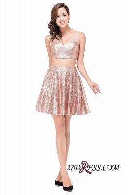 2020 Sexy Sequined Lace-Up Two-Pieces Mini Homecoming Dress_3