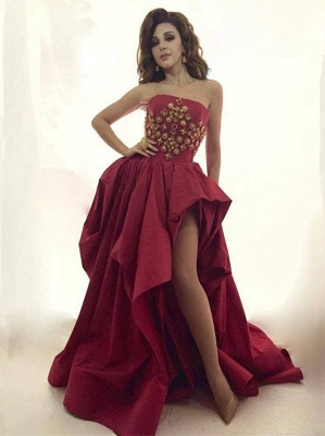 Glamorous Strapless 2020 Evening Dress Long Gold Beads Long Party Dress With Split BA8044_1