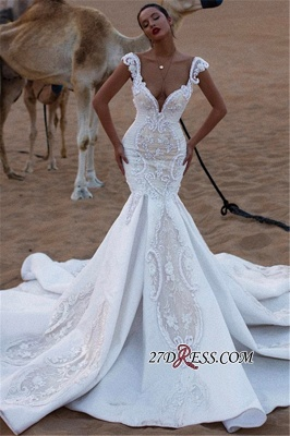 Appliques V-Neck Ruffles Mermaid Cap Luxurious Sleeves Wedding Dresses_2