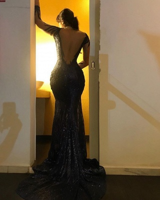 Sexy Black Sequins Prom Gowns   2020 Mermaid Long Sleeve Evening Dresses_2