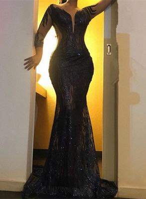 Sexy Black Sequins Prom Gowns   2020 Mermaid Long Sleeve Evening Dresses_1