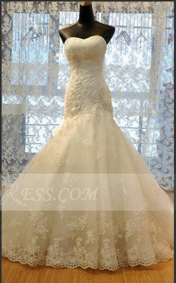Modest Sweetheart Lace Appliques Wedding Dresses Mermaid Lace-Up Bridal Gowns_1