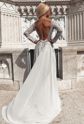 Glamorous Crew 2020 Long Sleeves Tulle Prom Gown   2020 A-Line Beadings Backless Evening Dress_2