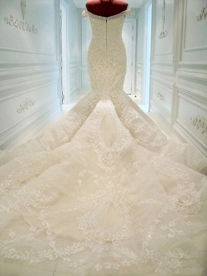 Gorgeous Off-the-shoulder Pearls 2020 Wedding Dress Mermaid Lace Long Train_3