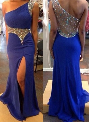 Sexy One Shoulder Royal Blue Evening Party Dress 2020 Split Prom Dress With Crystal Beadings_1