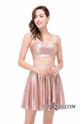 2020 Sexy Sequined Lace-Up Two-Pieces Mini Homecoming Dress_5