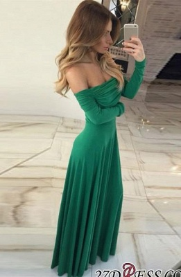 Green Off-the-shoulder Gorgeous Long-Sleeve Long 2020 Prom Dress BA7212_2