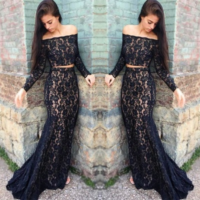 Black lace prom dress, 2020 two piece evening dress_3
