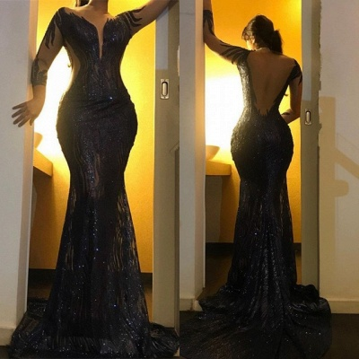 Sexy Black Sequins Prom Gowns   2020 Mermaid Long Sleeve Evening Dresses_3