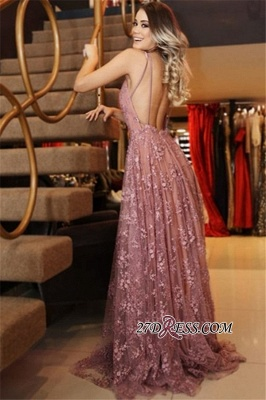 Spaghetti-Straps Backless Appliques Pink Sexy Lace Evening Dresses_2