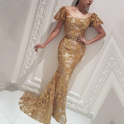 Gorgeous Off-the-Shoulder Gold Evening Dress | 2020 Mermaid Long Prom Gowns_2