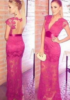 Newest Lace Appliques V-neck Cap Sleeve 2020 Prom Dress A-line Floor-length_1