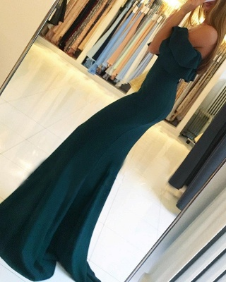 Green off the shoulder prom dress with split,green evening gowns_4