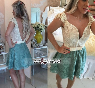 Backless Short Cap-Sleeves A-Line Beaded Lace Homecoming Dresses_2