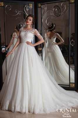 Elegant Illusion Half-sleeve Tulle Wedding Dress With Lace Appliques_1
